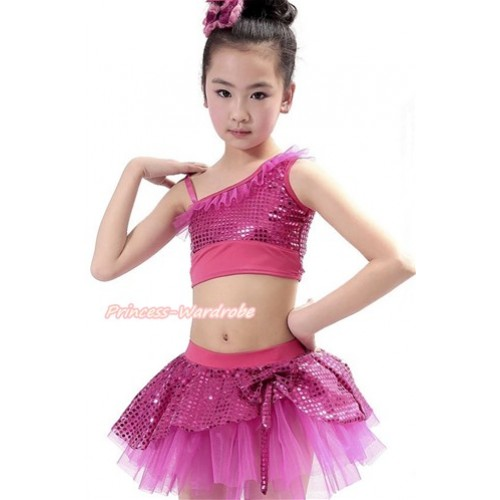 Hot Pink Sparkle Sequins Top with Dress Up Dance Pettiskirt Set B250
