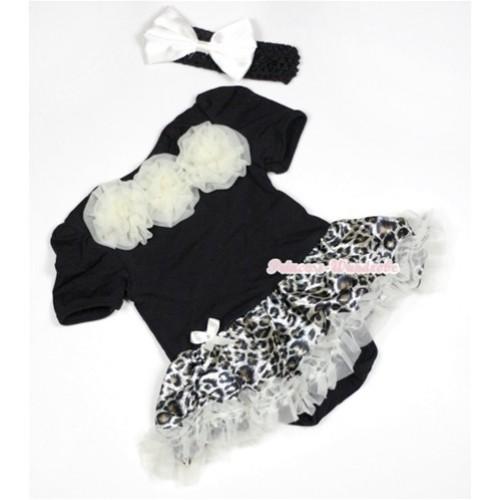Black Baby Jumpsuit Cream White Leopard Pettiskirt With Cream White Rosettes With Black Headband White Satin Bow JS490
