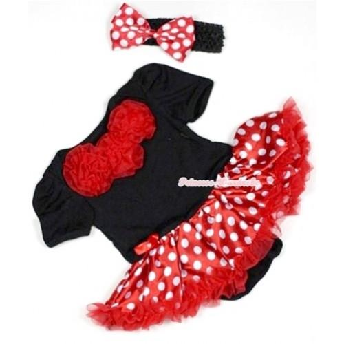Black Baby Jumpsuit Minnie Dots Pettiskirt With Red Rosettes With Black Headband Minnie Dots Satin Bow JS491