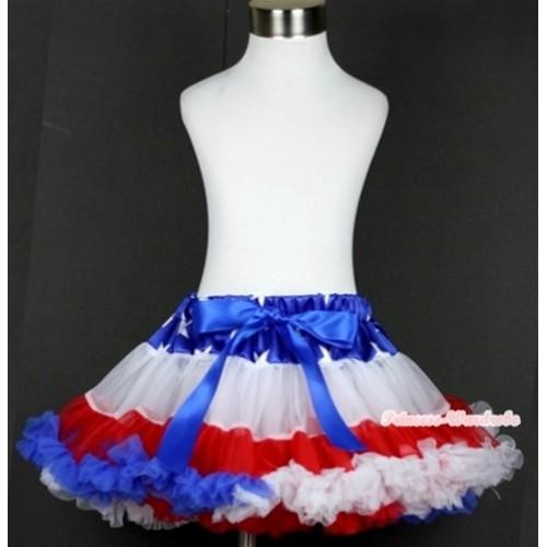 Patriotic American Star Waist Red White Royal Blue Teen Full Pettiskirt AP69