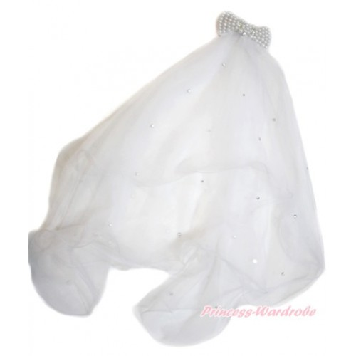 White Pearl Sparkle Crystal Bling Rhinestone Bow with Wedding Girl Bridal Bead Corsage Veil Mask Costume C229