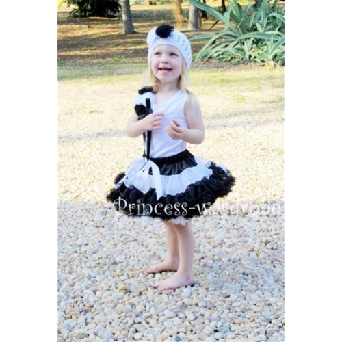 Black White Multi-colo​r Pettiskirt with White Tank Top & a Bunch of Black White Rosettes& Black Bow MW11