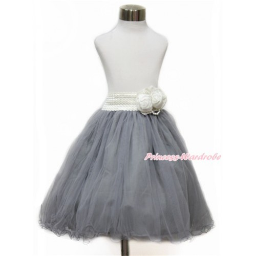 White Pearl Satin Rose Waist with Grey Chiffon Maxi Skirt B252