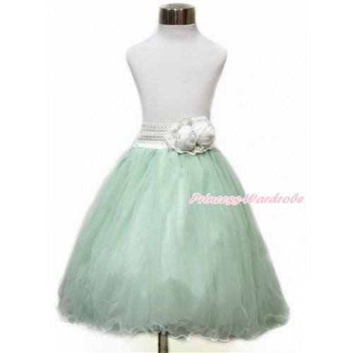 White Pearl Satin Rose Waist with Light Green Chiffon Maxi Skirt B253