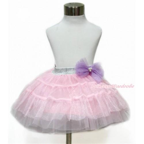 Sparkle Dark Purple Bow Waist with Sparkle Light Pink Chiffon Tiered Layer Skirt Dress Up Dance Dress B254
