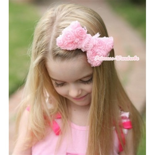 Light Pink Romantic Rose Bow Hair Clip H514