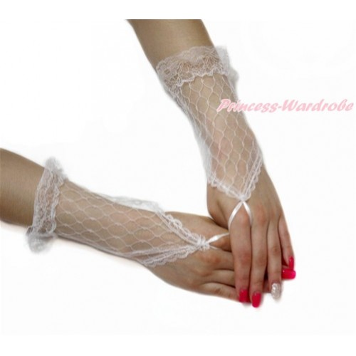White Lace See Through Wedding Princess Costume Fingerless Gloves PG001