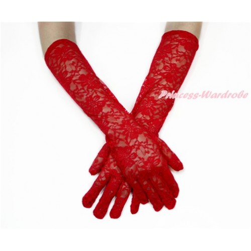 Red Wedding Elbow Length Princess Costume Long Lace See Through Gloves PG004