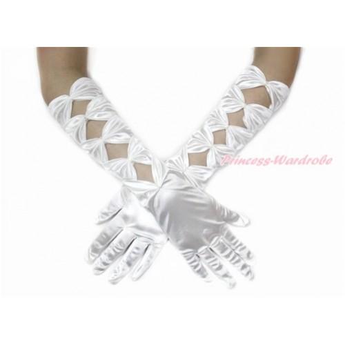 White Pearl Bow Wedding Elbow Length Princess Costume Long Satin Gloves PG006