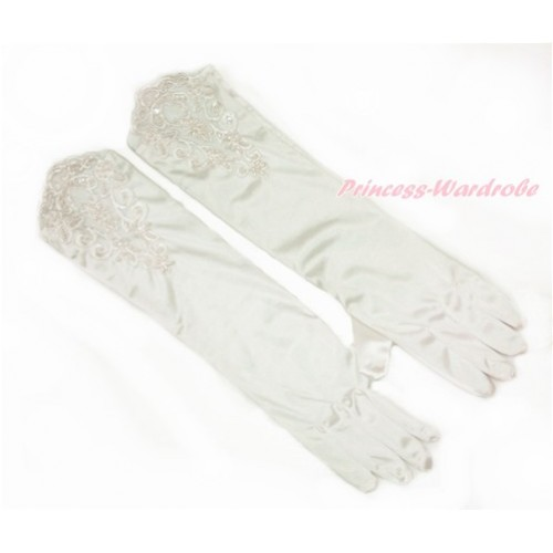 Cream White Wedding Elbow Length Princess Costume Long Lace Bead Satin Gloves PG011
