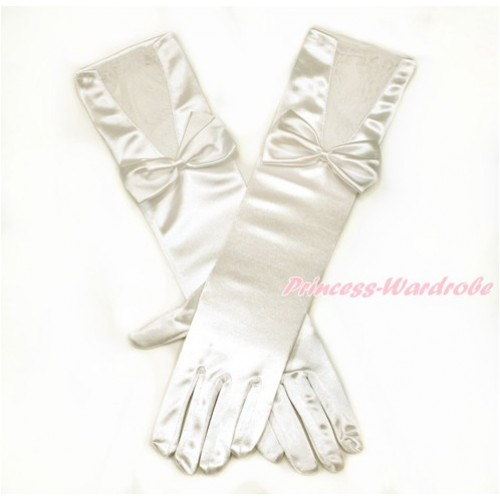 Cream White Wedding Elbow Length Princess Costume Long Lace Satin Gloves with Bow PG007