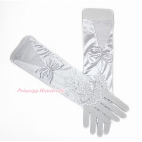 White Wedding Elbow Length Princess Costume Long Lace Satin Fingerless Gloves with Bow PG009
