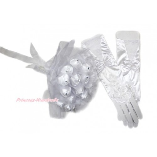 White Wedding Elbow Length Princess Costume Long Lace Satin Fingerless Gloves with Bow & Sparkle Crystal Bling Rhinestone Satin Bridal Bouquet PG009C228
