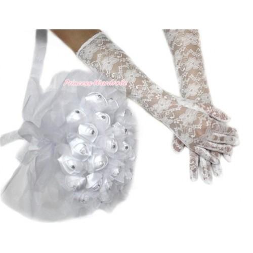 White Wedding Elbow Length Princess Costume Long Lace Gloves & Sparkle Crystal Bling Rhinestone Satin Bridal Bouquet PG005C228