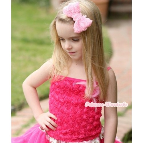 Hot Pink Romantic Rose Strap Pettitop With Light Pink Feather Rosettes TR005