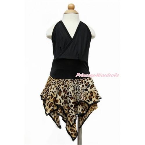 Black Halter Leopard Latin Dress Up Dance Dress B256