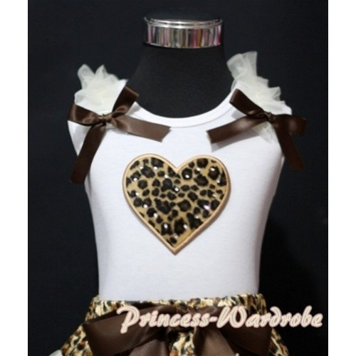 Leopard Sweet Heart White Tank Top with Cream White Ruffles Brown Bows TB155