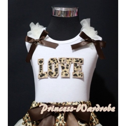 Leopard LOVE Print White Tank Top with Cream White Ruffles Brown Bows TM183