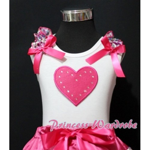 Hot Pink Sweet Heart White Tank Top with Hot Pink Floral Ruffles Hot Pink Bows TB156