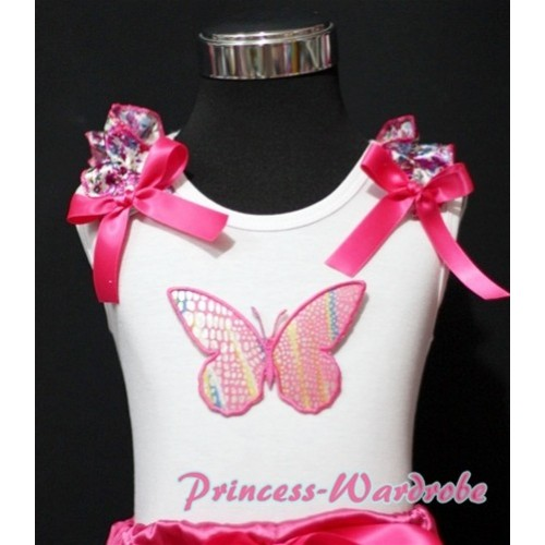Rainbow Butterfly White Tank Top with Hot Pink Floral Ruffles Hot Pink Bows TB157
