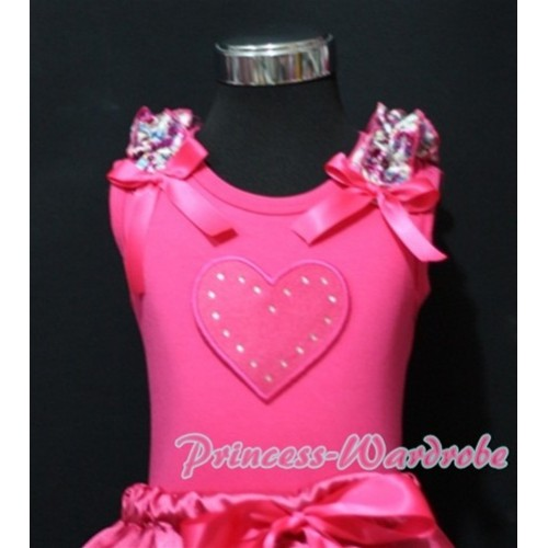 Hot Pink Sweet Heart Print Hot Pink Tank Top with Hot Pink Floral Ruffles Hot Pink Bows TM186
