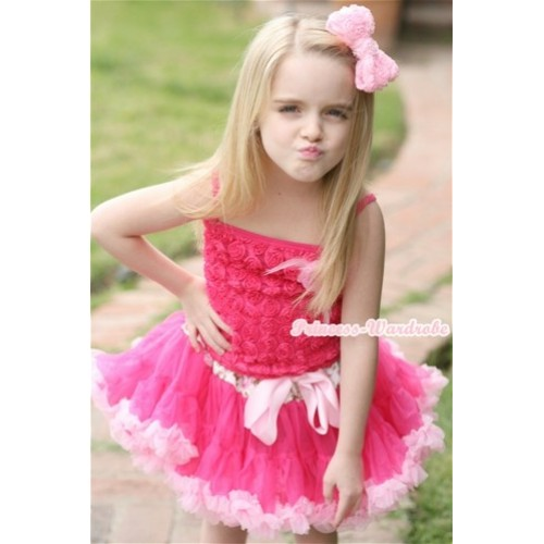 Hot Pink Romantic Rose Strap Pettitop With Light Pink Feather Rosettes With Rose Fusion Waist Hot Light Pink Pettiskirt MR228