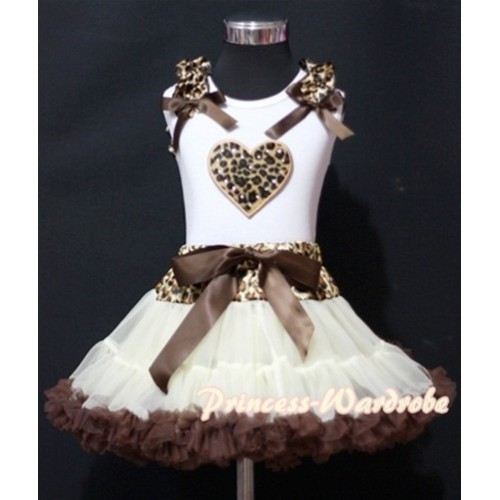 Cream White Leopard Waist Pettiskirt with Leopard Heart & Leopard Ruffles Brown Bow White Tank Top MM142