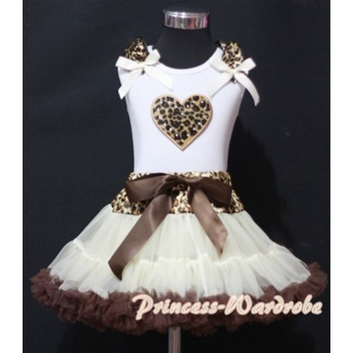 Cream White Leopard Waist Pettiskirt with Leopard Heart & Leopard Ruffles Cream White Bow White Tank Top MM143