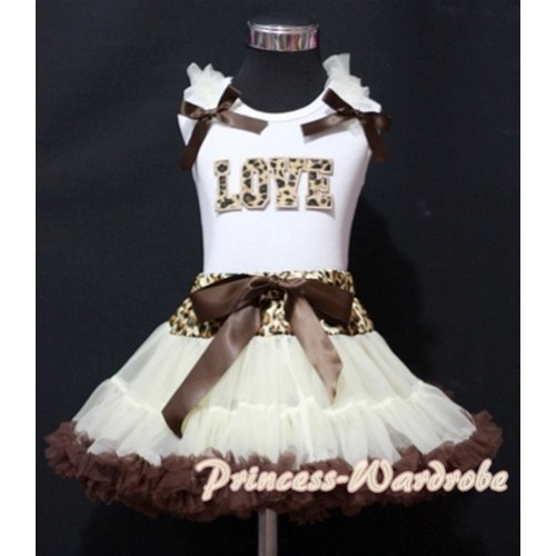 Leopard Waist Cream White Brown Pettiskirt with Leopard Love Print White Tank Top With Cream White Ruffles& Brown Bow MM146
