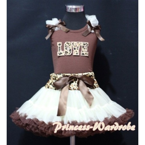 Leopard Waist Cream White Brown Pettiskirt with Leopard LOVE & Cream White Ruffles Brown Bow Brown Tank Top MM148