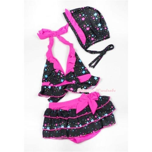 Hot Pink Black Little Stars Bikini Swimming Suit with Cap SW60