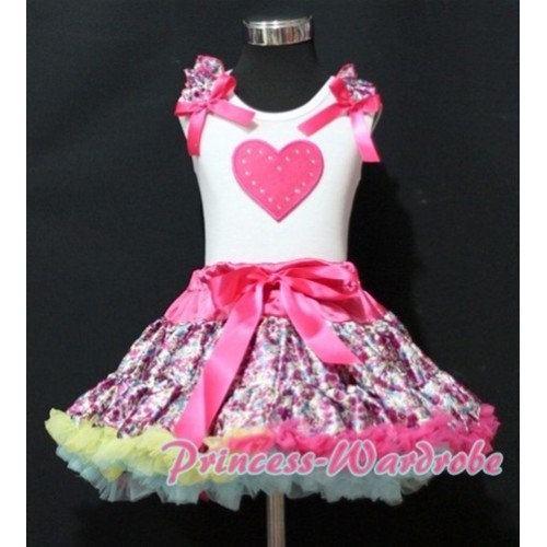 Hot Pink Floral Pettiskirt with Hot Pink Heart & Hot Pink Floral Ruffles Hot Pink Bow White Tank Top MM149