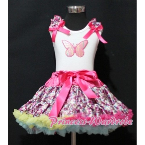 Hot Pink Floral Pettiskirt with Rainbow Butterfly & Hot Pink Floral Ruffles Hot Pink Bow White Tank Top MM150