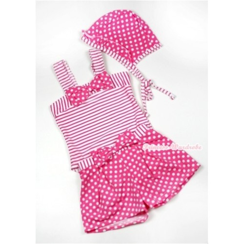 Hot Pink White Striped Polka Dots Swimming Suit with Cap SW61