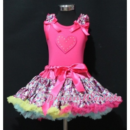 Hot Pink Floral Pettiskirt with Hot Pink Heart & Hot Pink Floral Ruffles Hot Pink Bow Hot Pink Tank Top MM151