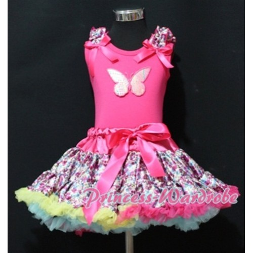 Hot Pink Floral Pettiskirt with Rainbow Butterfly & Hot Pink Floral Ruffles Hot Pink Bow Hot Pink Tank Top MM152