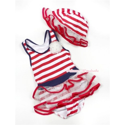 Red White Striped Sailor Swimming Suit with Cap SW62