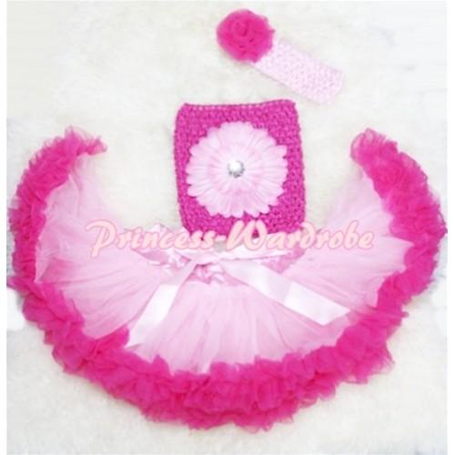 Light Hot Pink Baby Pettiskirt, Light Pink Flower Hot Pink Crochet Tube Top, Rose Headband 3PC Set CT77