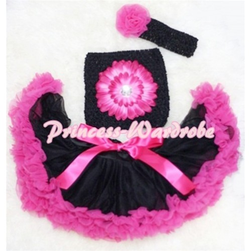 Black Hot Pink Baby Pettiskirt, Hot Pink Flower Black Crochet Tube Top, Hot Pink Rose Black Headband 3PC Set CT81
