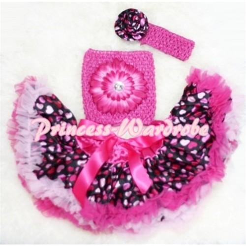 Hot Pink Heart Baby Pettiskirt, Hot Pink Flower Hot Pink Crochet Tube Top, Rose Headband 3PC Set CT82
