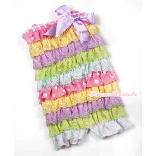 Rainbow Light Pink White Dots Ruffles Petti Rompers with Lavender Bow LR159
