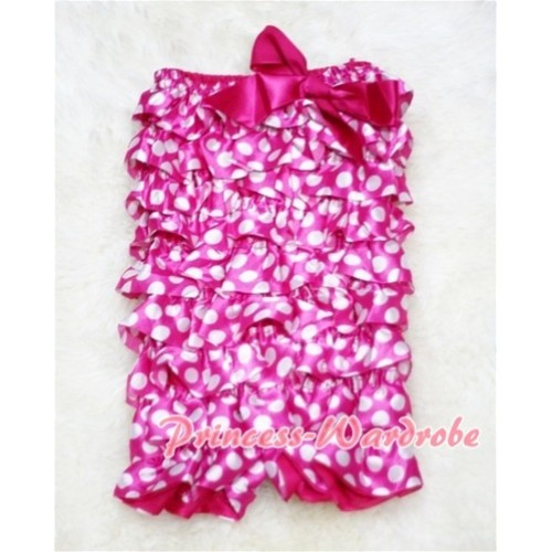 Hot Pink White Polka Dot Chiffon Romper with Hot Pink Bow LR50