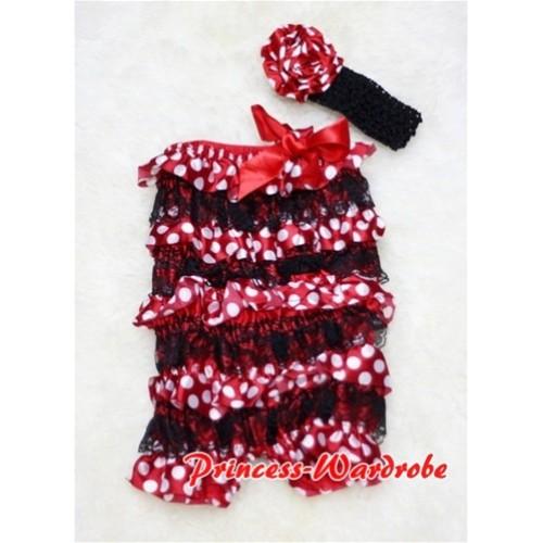 Minnie Dot Black Layer Chiffon Romper with Hot Red Bow with Headband Set RH07
