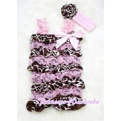 Giraffe Light Pink Layer Chiffon Romper with Light Pink Bow & Straps with Headband Set RH10