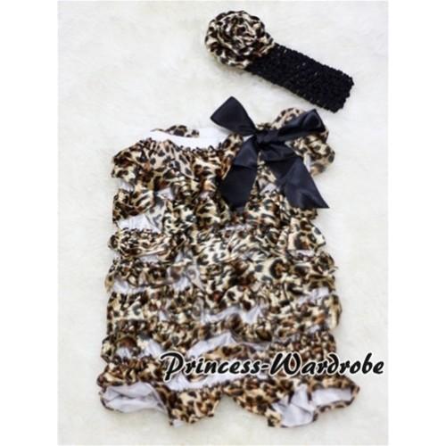 Black Leopard Chiffon Romper with Black Bows with Black Headband Leopard Rose Set RH19