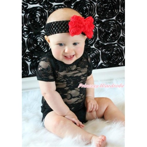 Black See Through Baby Jumpsuit with Black Headband & Red Rose Bow TH475