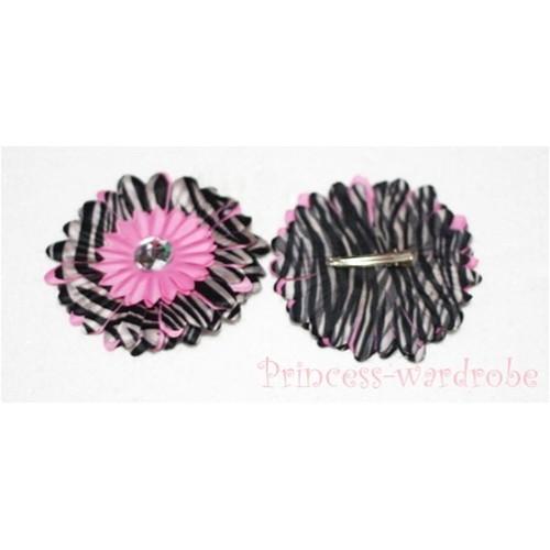 Light Pink Zebra Crystal Daisy Hair Pin H104