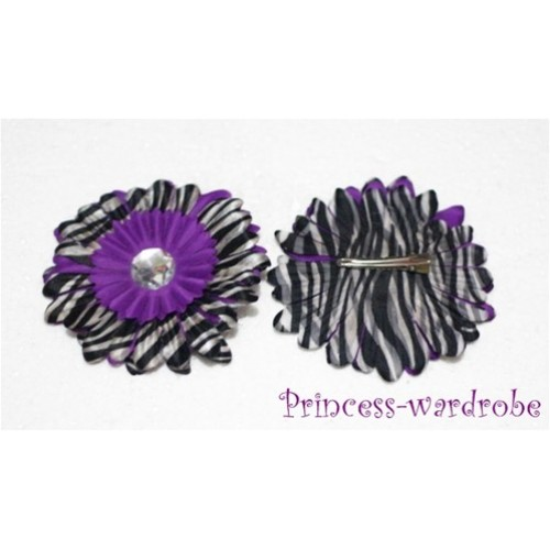 Dark Purple Zebra Crystal Daisy Hair Pin H106