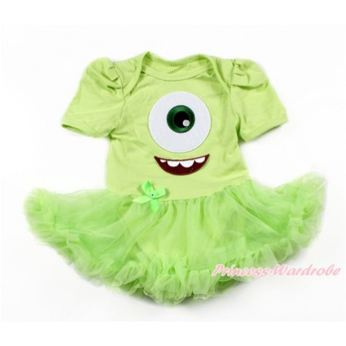 Light Green Baby Bodysuit Jumpsuit Light Green Pettiskirt with Big Eyes Monster Print JS3260