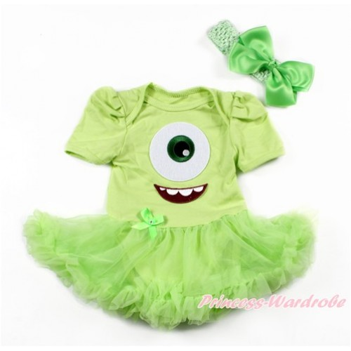 Light Green Baby Bodysuit Jumpsuit Light Green Pettiskirt With Big Eyes Monster Print With Light Green Headband Light Green Silk Bow JS3261